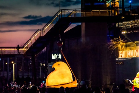 A giant, glowing Peep rings in the New Year in Bethlehem, Pennsylvania.