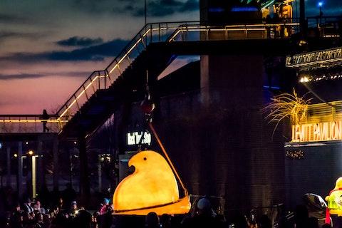 A giant, glowing Peep rings in the New Year in Bethlehem, Pennsylvania.