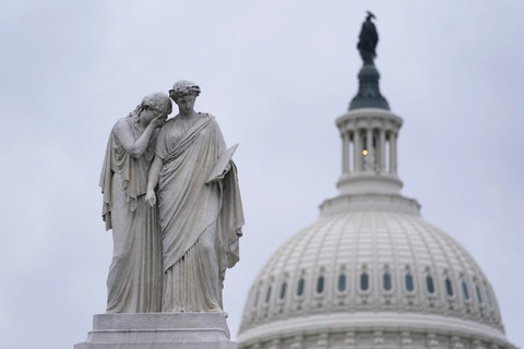 The Peace Monument, also known as the Naval Monument or Civil War Sailors Monument, is framed by the Capitol dome on Capitol Hill in Washington, Monday, Jan. 4, 2021. Wednesday's congressional joint session to count electoral votes could drag late into the night as some Republicans plan to challenge Democrat Joe Biden's victory in at least six states.  (AP Photo/Susan Walsh)