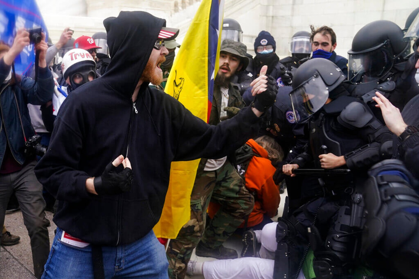 Trump supporters confronting Capitol police officers