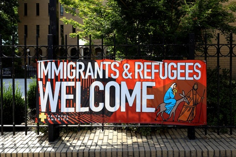 'Immigrants and Refugees Welcome' signage outside Central Presbyterian Church in Atlanta, Georgia on July 27, 2019.  (Photo By Raymond Boyd/Getty Images)