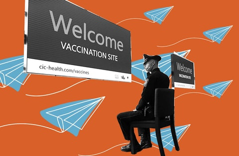 Gillette Stadium is the Commonwealth' s first large-scale COVID-19 vaccination site, operated by CIC Health. (Photo by Suzanne Kreiter/The Boston Globe via Getty Images. Graphic treatment by Denzel Boyd)