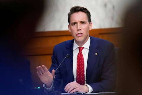 Sen. Josh Hawley (R-MO) speaks during the third day of the Supreme Court confirmation hearings for Judge Amy Coney Barrett before the Senate Judiciary Committee on Capitol Hill on October 14, 2020 in Washington, DC. (Photo by Patrick Semansky-Pool/Getty Images)