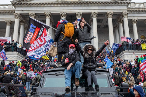 Pro-Trump domestic terrorists flooded Washington DC to protest Trump's election loss. Hundreds breached the U.S. Capitol Building, aproximately13 were arrested and one protester was killed. (Photo by Michael Nigro/Pacific Press/LightRocket via Getty Images)