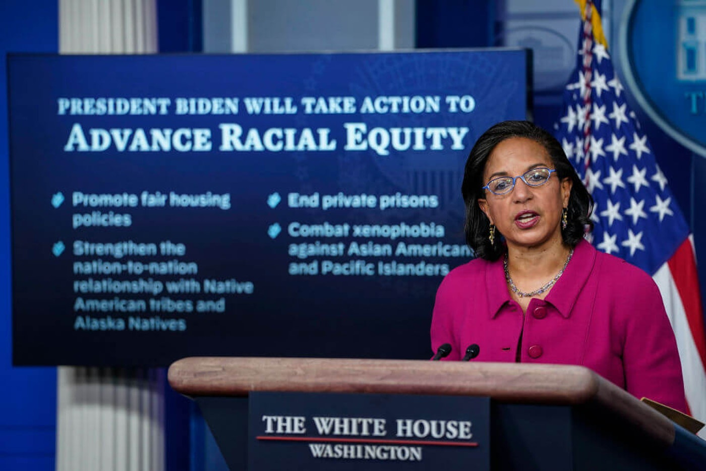 Domestic Policy Advisor Susan Rice speaks during the daily press briefing at the White House on January 26, 2021 in Washington, DC. Rice discussed plans for President Biden's racial equity agenda. (Photo by Drew Angerer/Getty Images)