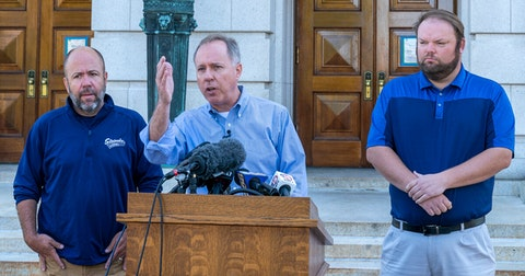 Wisconsin Assembly Speaker Robin Vos, center (R-Rochester) addresses the media along with Majority Leader Jim Steinke (R-Kaukauna) and Speaker Pro Tempore Tyler August (R-Lake Geneva) after protesters took down two statues June 23 on the grounds of the Capitol Square. (Photo © Andy Manis)