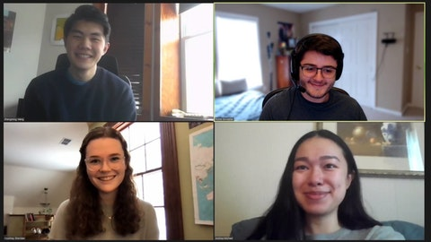 Some of the founders of VaccinatePA talk on a Zoom call. Clockwise, from top left: Zhengming Wang, Richard Goulazian, Andrea Michael, and Courtney Sheridan. (Courtesy of VaccinatePA)