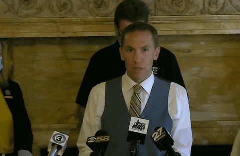 Sen. Chris Larson (D-Milwaukee) speaks at a press conference during which he and fellow Democrats unveiled campaign finance reform bills. (Screenshot via WisconsinEye)