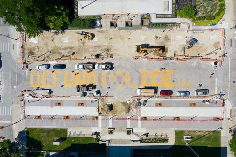 Defund Police on MLK Drive in Madison. (Photo by Eric Tadsen)