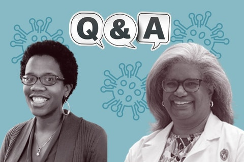 Pediatric experts Dr. Janean Dilworth-Bart, left, and Dr. Sheryl Henderson answered UpNorthNews reader questions about children, schools, and the Delta variant. (Graphic by Jonathon Sadowski)
