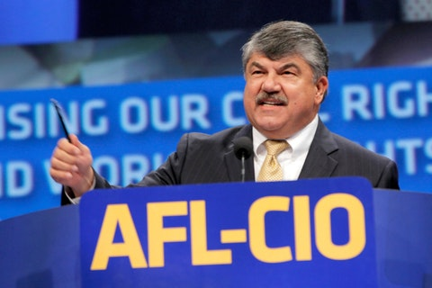 In this Sept. 9, 2013 file photo, AFL-CIO President Richard Trumka speaks in Los Angeles.  The longtime president of the AFL-CIO labor union has died. News of Richard Trumka's death was announced Thursday by President Joe Biden and Senate Majority Leader Chuck Schumer. Trumka was 72 and had been AFL-CIO president since 2009, after serving as the organization's secretary-treasurer for 14 years.  (AP Photo/Nick Ut, File)