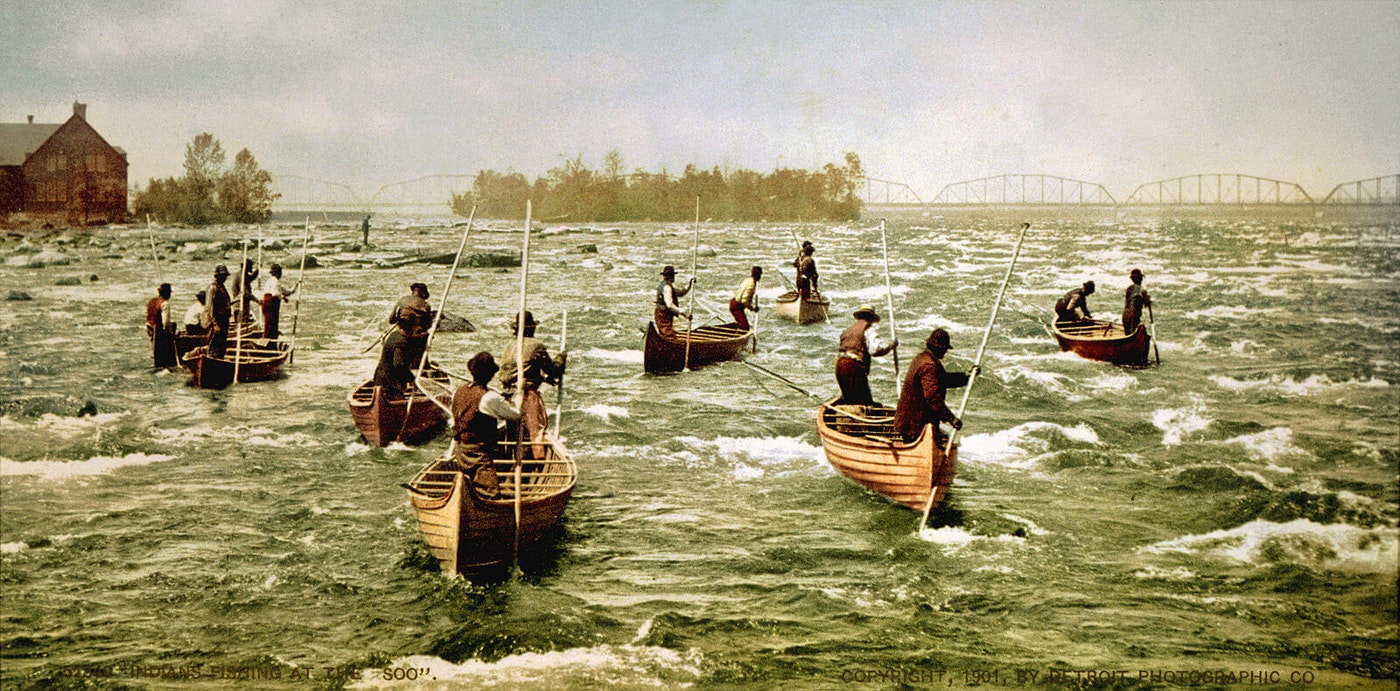 Indigenous people fish in northern Michigan.
