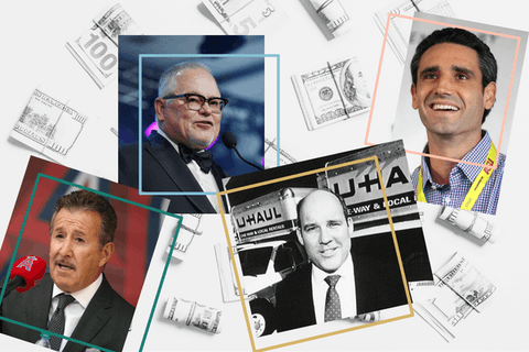 headshots of Arte Moreno, Bob Parsons, Joe Shoen, and Ernie Garcia III over top 100 dollar bills