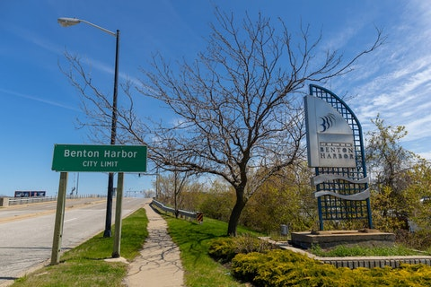 Benton Harbor, Michigan, USA - May 4, 2019: The City Limit sign as seen from St Joseph.