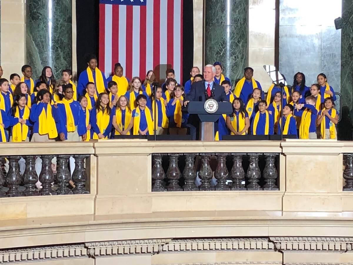Vice President Mike Pence was the guest of honor Tuesday at the School Choice Week rally at the State Capitol in Madison (Photo by Jessica VanEgeren)