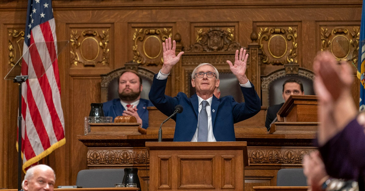 Wisconsin Gov. Tony Evers acknowledges the gallery during a joint session of the Legislature in the Assembly chambers at the Governor's State of the State speech, Jan. 22, 2020 (Photo © Andy Manis)