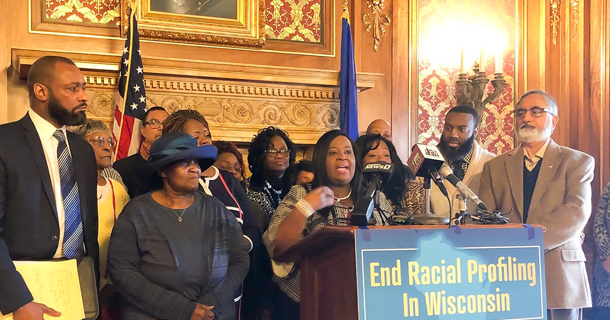 Rep. Sheila Stubbs, D-Madison, speaks at a press conference Jan. 17 about a bill that would provide a path for victims of racial profiling by proxy to hold accusers accountable. Rep. David Bowen, D-Milwaukee is a co-sponsor, and former Madison Police Chief Noble Wray spoke in support of the bill. (Photo Jessica VanEgeren)