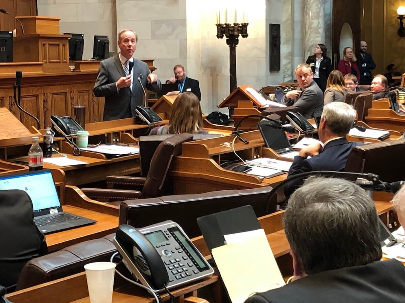 Assembly Speaker Robin Vos, R-Rochester, addresses Assembly members in January, 2020. (Photo by Jessica VanEgeren)