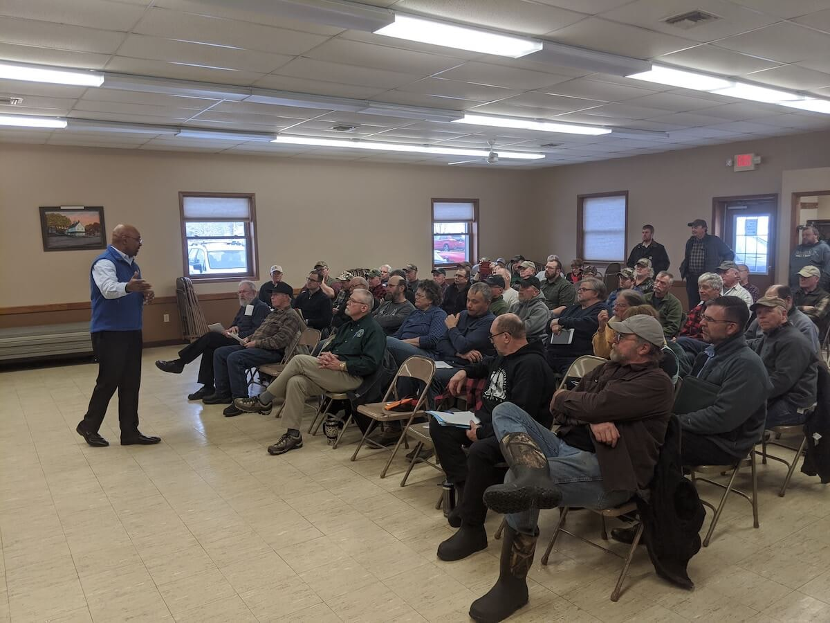 Wisconsin Department of Natural Resources Secretary Preston Cole discusses chronic wasting disease and management of the state's deer herd at the Rock Creek Town Hall in Eau Claire County, Jan. 22, 2020 (Contributed photo)
