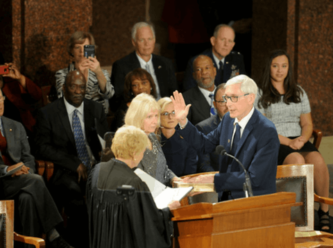 Tony Evers Becomes Wisconsin's 46th Governor on January 7, 2019 (Courtesy: dma.wi.gov)