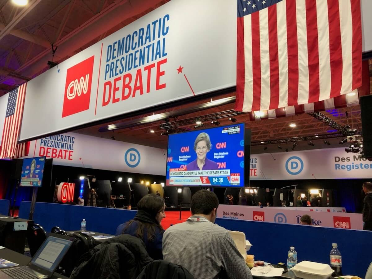 The Spin Room behind the scenes of the January 14 debate sponsored by CNN and the Des Moines Register (Photo by Jodi Jacobson)