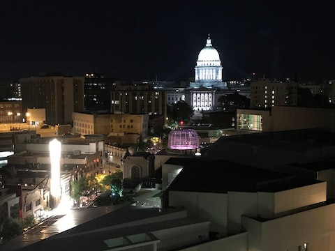 "Overlooking State Street, the west wing of the Capitol building contains the Assembly chamber where Gov. Evers will deliver Wednesday night's ""State of the State"" address. (Photo by Pat Kreitlow)"