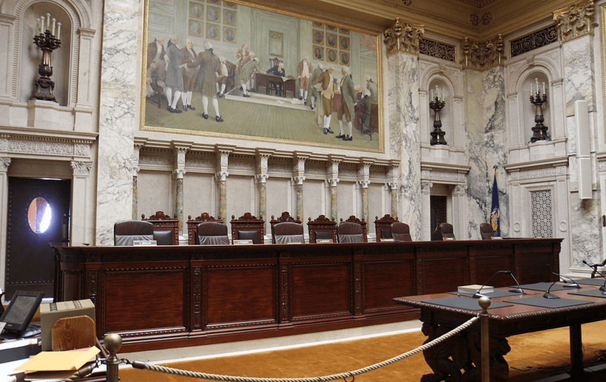 Chambers of the Wisconsin Supreme Court inside the state Capitol building in Madison.