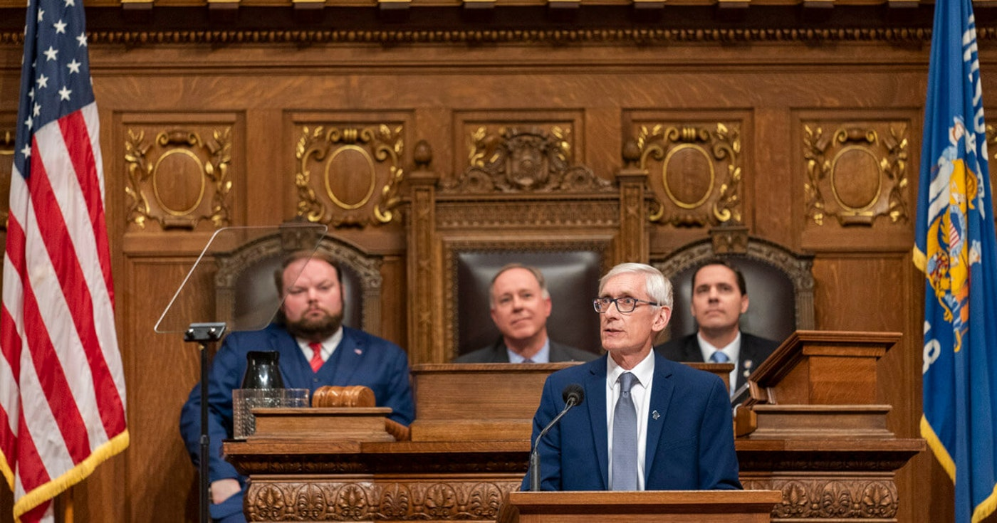 Gov. Tony Evers during the State of the State speech, Jan. 22, 2020. (Photo © Andy Manis)