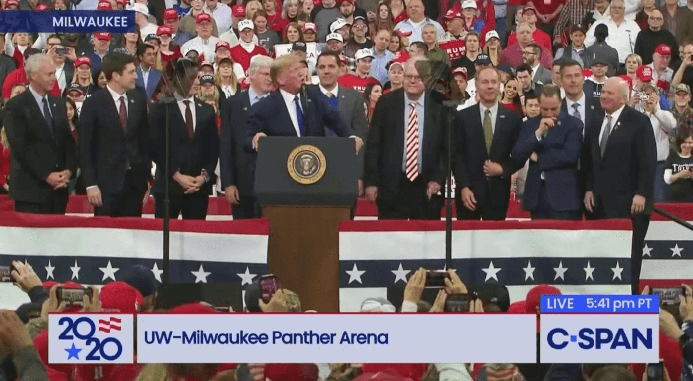 Prominent Wisconsin Republicans, past and present, join President Trump on stage in Milwaukee (C-SPAN)