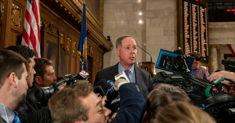 In this file photo, Assembly Speaker Robin Vos (R-Rochester) talks to media after Governor Evers delivered his 2020 State of the State address.