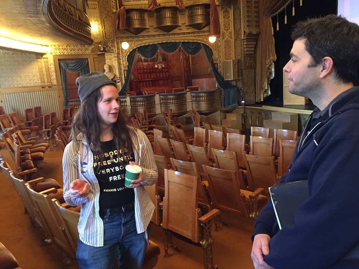 Grace Stolen, 20, a student at UW-Stout talks to John Rocco Calabrese about getting more deeply involved in politics