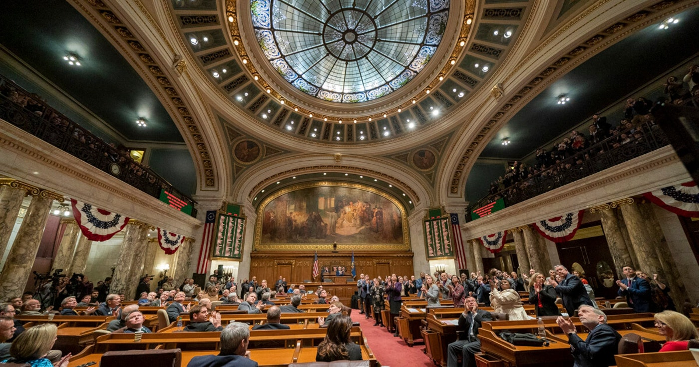 The Assembly chamber in the Wisconsin Capitol. (Photo © Andy Manis)