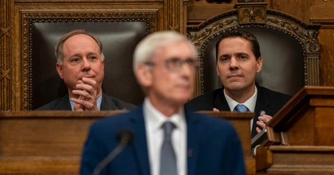 Assembly Speaker Robin Vos (left) overlooks Gov. Tony Evers as he addresses a joint session of the Legislature for the State of the State speech at the state Capitol Jan. 22, 2020, in Madison, Wis. (Photo © Andy Manis)