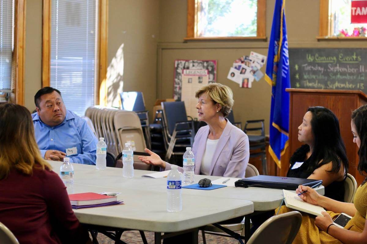 Sen. Tammy Baldwin meets with Hmong community leaders in this 2018 photo from her Facebook page