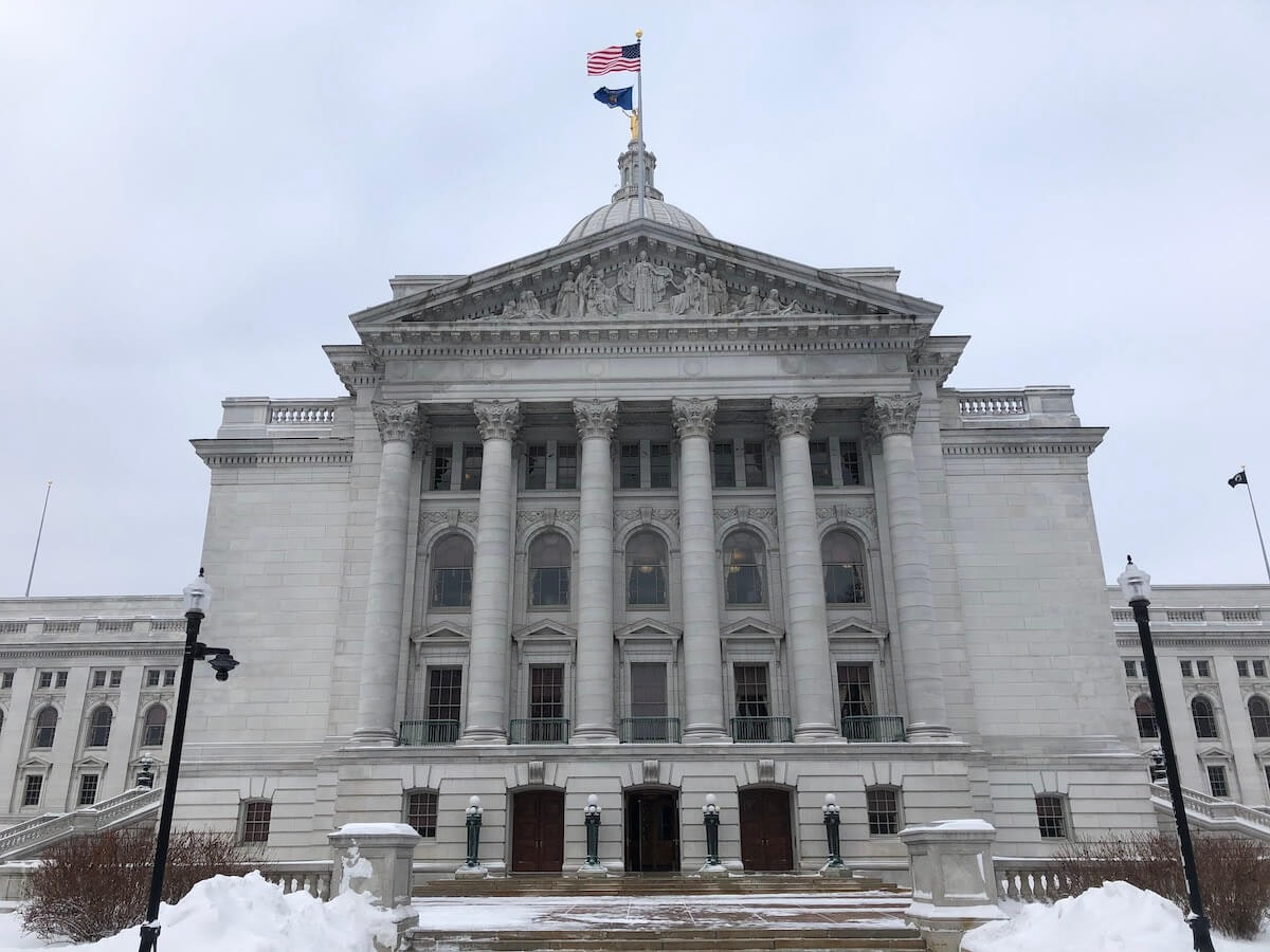The west entrance to the state Capitol building in Madison. (Photo by Jessica VanEgeren)