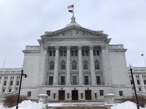 The west entrance to the state Capitol building in Madison. The state Assembly meets in the west wing of the Capitol. (Photo by Jessica VanEgeren)