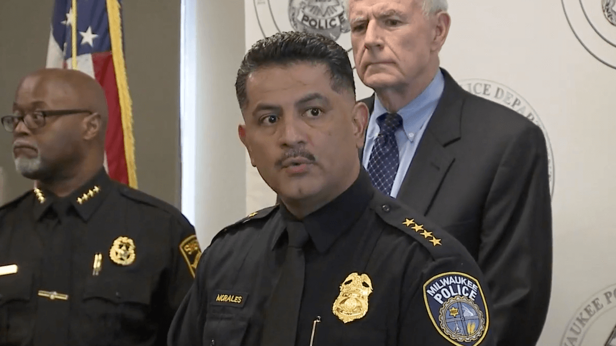 Milwaukee Police Chief Alfonso Morales reads the names of the five victims of Wednesday's MolsonCoors shooting during a Thursday afternoon press conference. (Screenshot from WITI-TV)