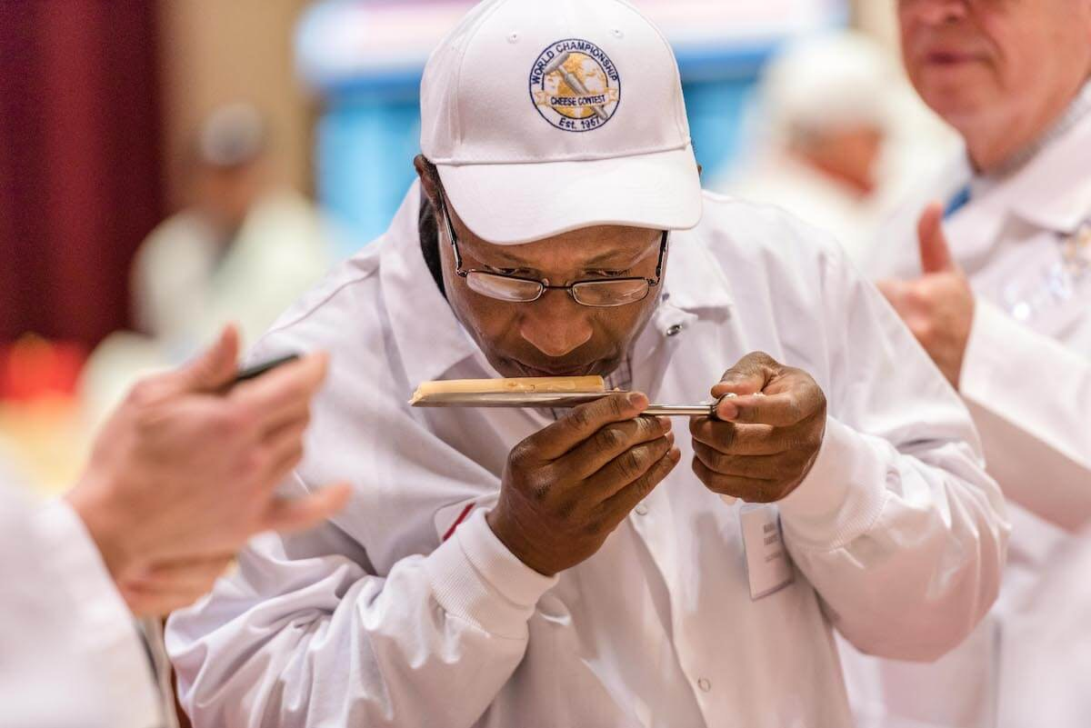 A cheese sample rests on a cheese trier as it is being judged at the 2018 World Championship Cheese Contest. The contest occurs every two years. (Photo provided by Wisconsin Cheese Makers Association)