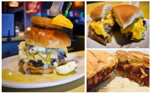 Clockwise from left, Solly's cheesehead butter burger, Solly's original butter burger and Kroll's East's original butter burger. (Photos by Jonathon Sadowski)