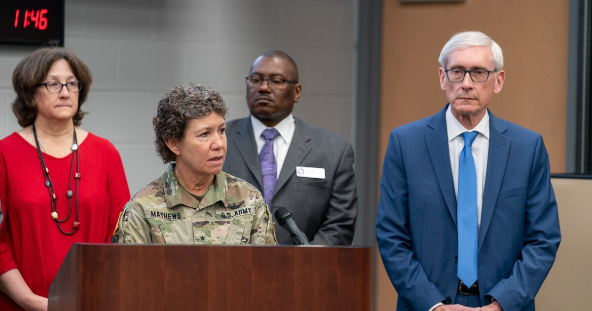 Brig. Gen. Joane Mathews discusses the role of the Wisconsin National Guard after Gov. Tony Evers declares a public health emergency due to the coronavirus on March 12, 2020. (Photo © Andy Manis)