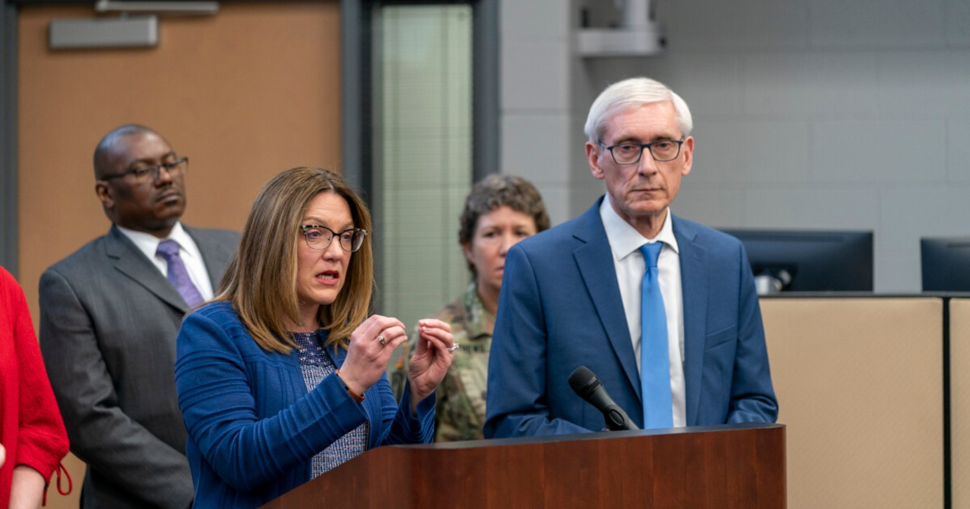 Former WI Department of Health Services Secretary-designee Andrea Palm and Gov. Tony Earl address the press on March 12, 2020