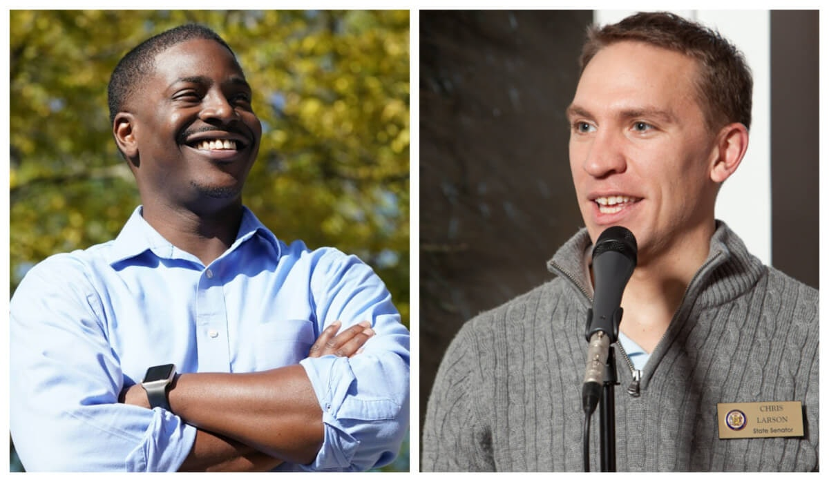Milwaukee Democrats Rep. David Crowley, left, and Sen. Chris Larson are running for Milwaukee County executive and will face each other in the polls on April 7. Incumbent County Executive Chris Abele is not seeking re-election. (Photos via the Crowley and Larson campaigns)