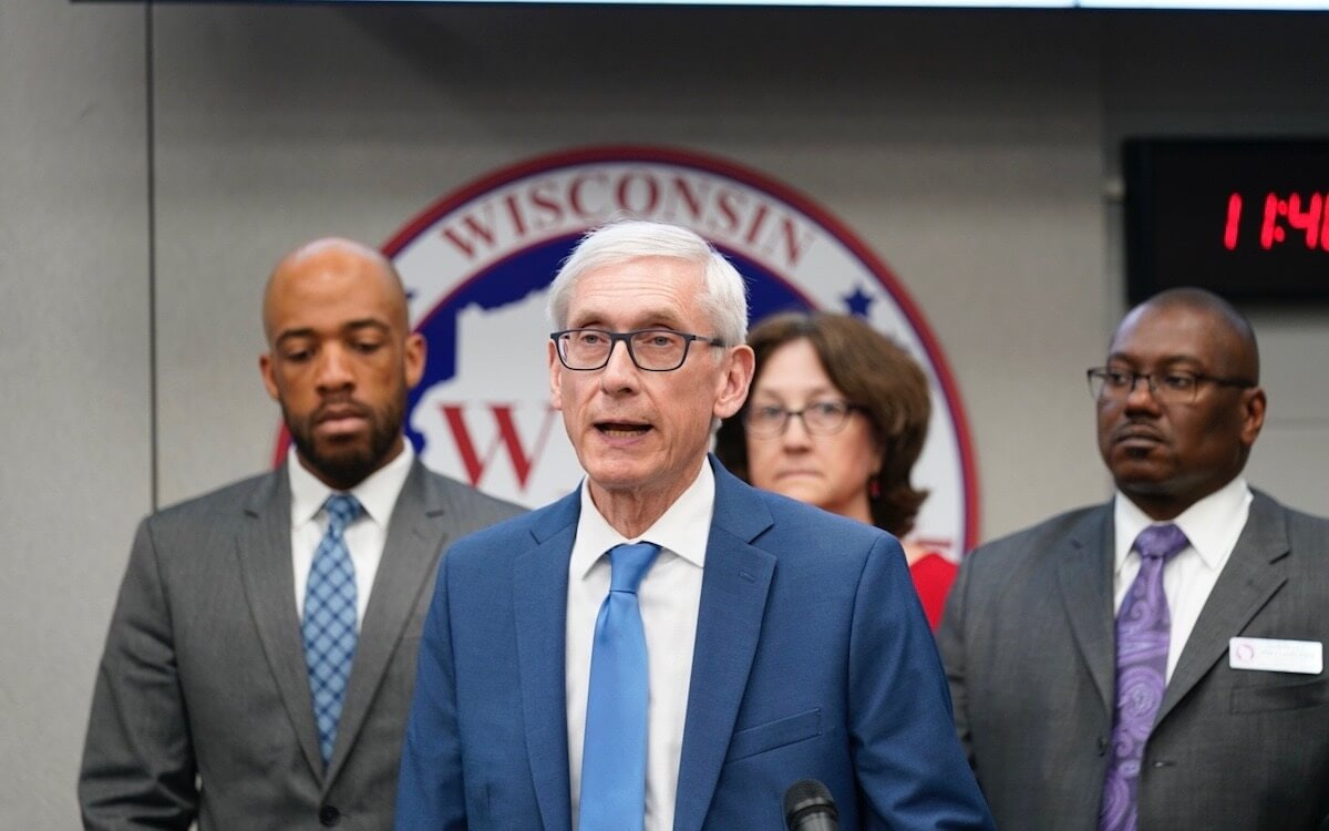 Gov. Tony Evers declaring a public health emergency due to the coronavirus March 12.(Photo by Andy Manis)