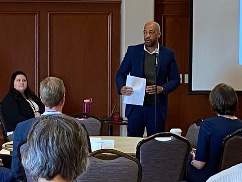 FILE, Mar. 2020—Lt. Gov. Mandela Barnes addresses members of the Governor's Task Force on Climate Change during a meeting at UW-Stevens Point. (Photo by Julian Emerson)