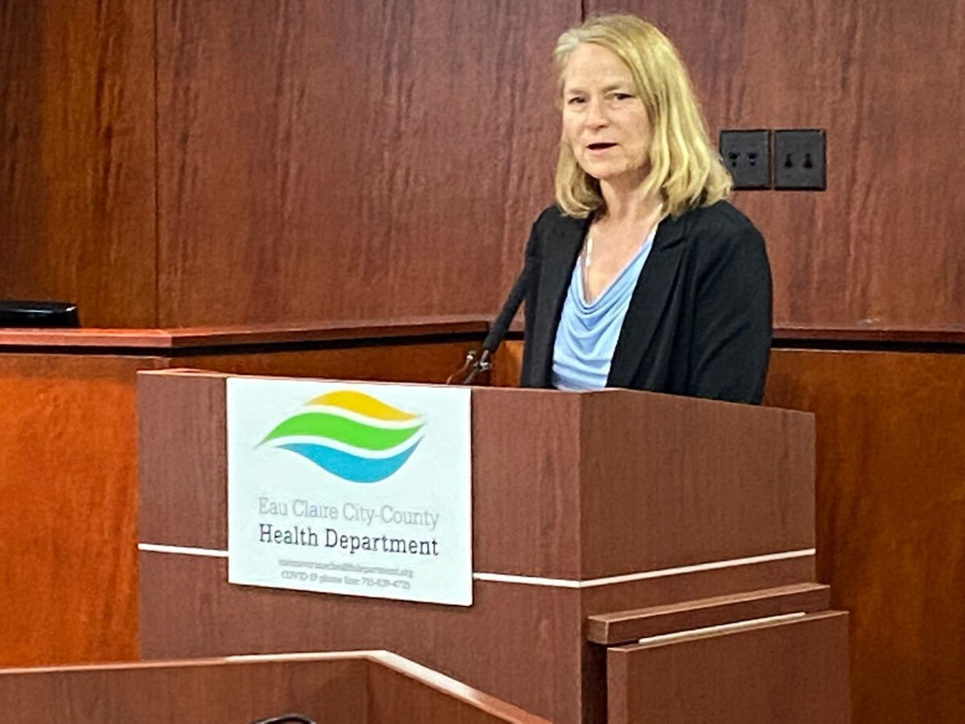 Lieske Giese, Eau Claire City-County Health Department director, said it is highly unlikely COVID-19 precautions will be lifted by Easter Sunday, April 12, as President Donald Trump said he would like to see happen. (Photo by Julian Emerson)