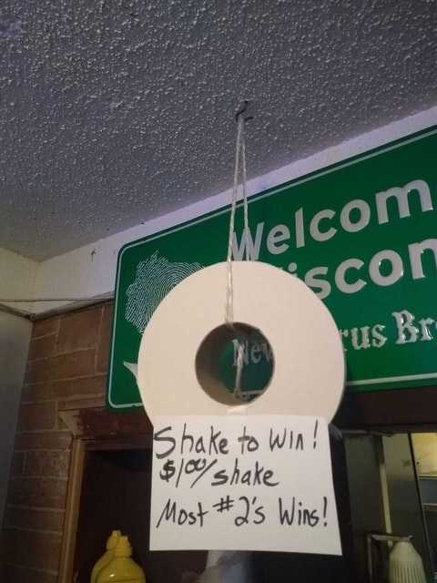 "At Sportsmen's Bar 'n Grill in the Dunn County, a Facebook post Friday invites customers to shake dice ""to win a giant TP roll! Try your luck tonight during our delicious fish fry! Walleye and perch dinners served 5-9pm."""
