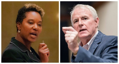 State Sen. Lena Taylor, D-Milwaukee, figures to be four-term incumbent Milwaukee Mayor Tom Barrett's toughest challenge yet as he seeks a fifth term. (Photos via Tom Barrett, Lena Taylor offices)