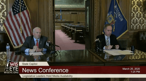 "Sen. Scott Fitzgerald, R-Juneau, Senate Majority Leader and Rep. Robin Vos, R-Rochester, Speaker of the Assembly, take questions by speakerphone from reporters about the coronavirus outbreak, the ""Safer at Home"" order from Gov. Evers, and the concern about the upcoming April 7 election. (Courtesy: WisconsinEye)"