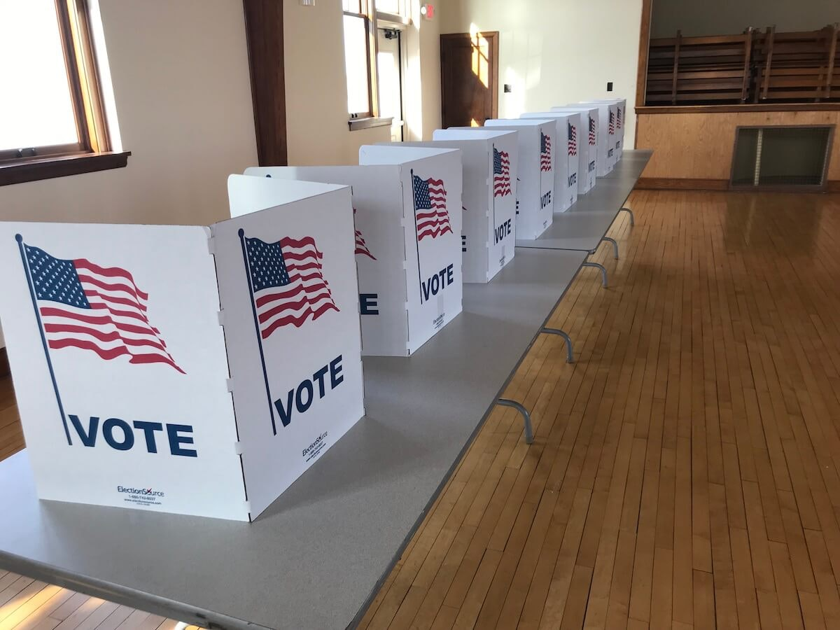 Voting booths prior to a past Election Day at the Eagle Point Town Hall in Chippewa County. (Photo by Pat Kreitlow)