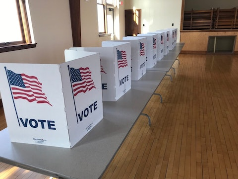 Voting stations at the Eagle Point town hall in Chippewa County (Photo by Pat Kreitlow)